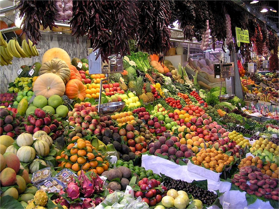 Large variety of fruits and vegetables