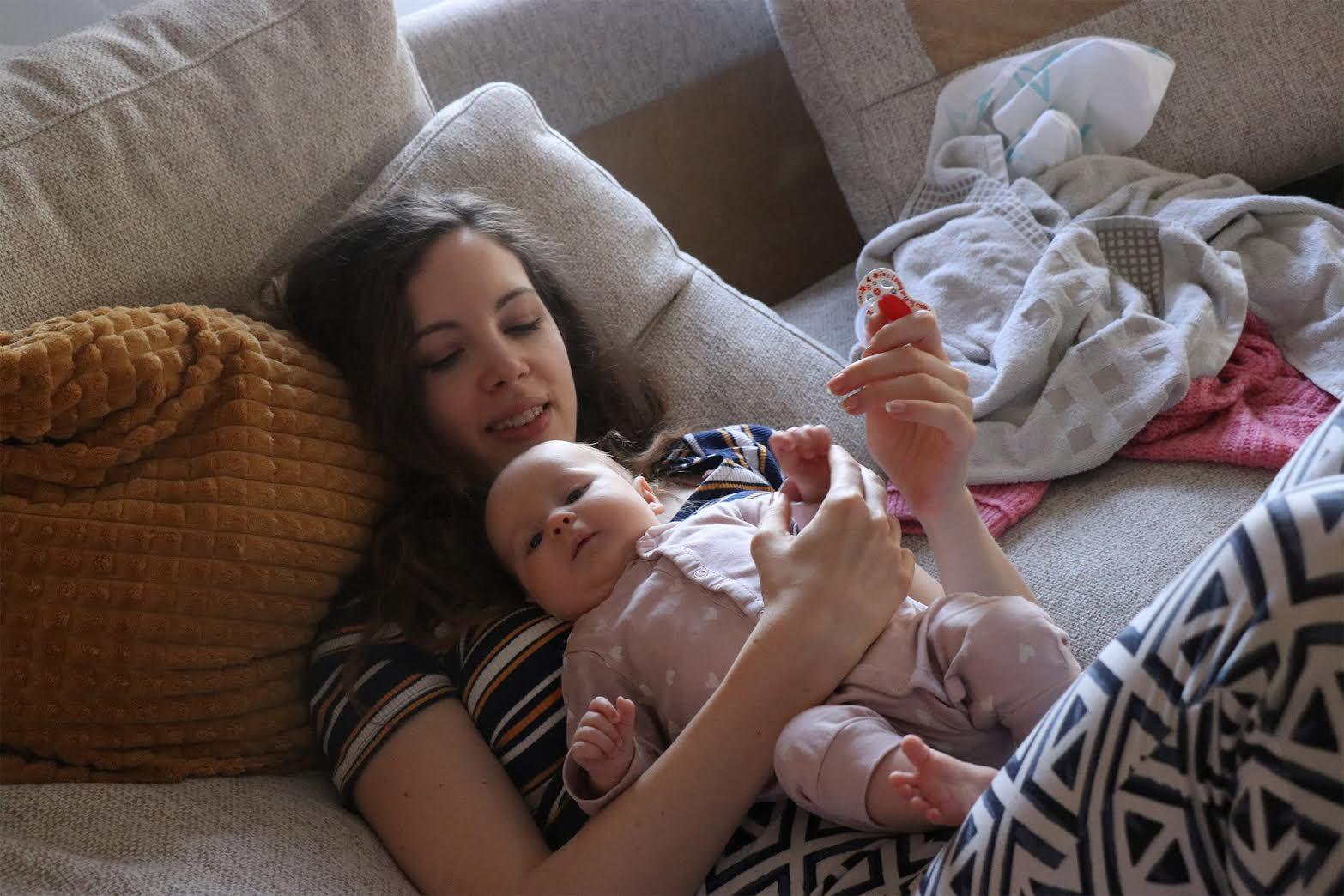 Ann Van den Broeck with her baby